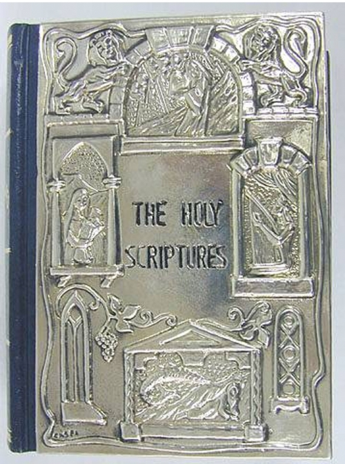 Sterling Silver Mounted Bible In Hebrew & English