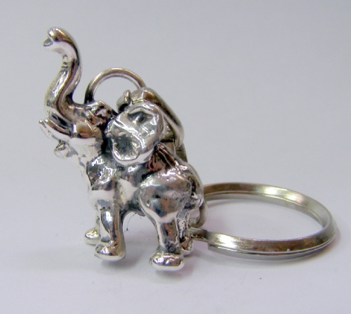 Silver Mini Elephant Key Chain