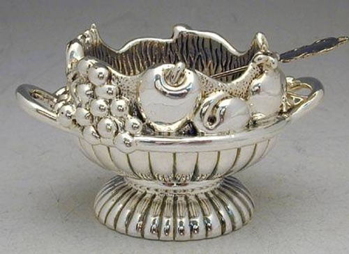 Sterling Silver 2-Handled Honey Dish & Spoon