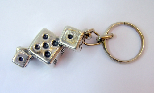 Silver 4 Cubes Key Chain